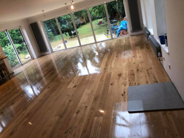 Recently fitted Engineered Oak flooring. Given an extra coat of Osmo wax oil for added protection.
