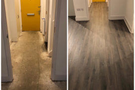 New wooden flooring laid in a hallway on to concrete Oxfordshire sanding, sealing and flooring by Headington Flooring