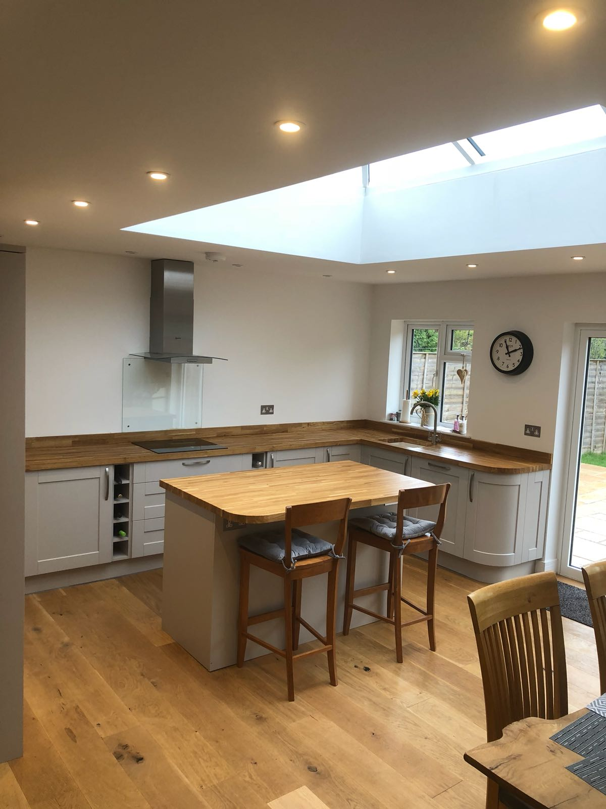 Headington engineered oak flooring and solid oak worktops installed, sanded and sealed into a new kitchen diner