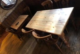 Table sanding/refurbishment in the local pub, Old Headington Oxford