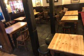 Table sanding/refurbishment in The White Hart Pub, Old Headington