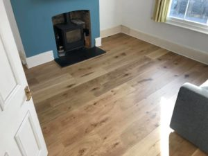 Sanded oak flooring