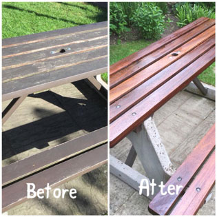 exterior wood restoring, decking and benches