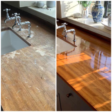 restoring solid wood worktops